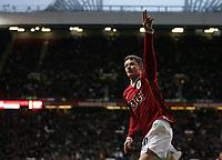 Photo: Paul Thomas.<br /> Manchester United v Aston Villa. The FA Cup. 07/01/2007.<br /> <br /> Ole Gunnar Solskjaer of Man Utd celebrates his winning goal.