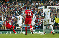 Photo: Chris Ratcliffe.<br />Liverpool v West Ham United. The FA Cup Final. 13/05/2006.<br />Djibril Cisse of Liverpool scoring the first Liverpool goal.