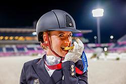 TOKYO - Olympische Spiele / Olympic Games 2021<br /> <br /> von BREDOW-WERNDL Jessica (GER)<br /> Grand Prix Kür / Freestyle<br /> Medaillenvergabe Einzelentscheidung / Medal ceremony Individual<br /> <br /> Tokio, Equestrian Park<br /> 28. July 2021<br /> © www.sportfotos-lafrentz.de/Stefan Lafrentz