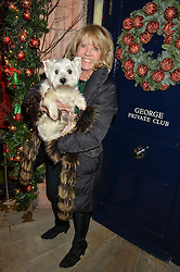 INGRID SEWARD and her dog Puff at a recption hosted by the Dogs Trust held at George, 87-88 Mount Street, London on 23rd November 2015.