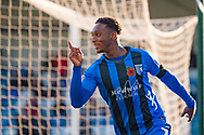 Gillingham FC forward Brandon Hanlan (7) scores a goal (1-0) and celebrates during the EFL Sky Bet League 1 match between Gillingham and Fleetwood Town at the MEMS Priestfield Stadium, Gillingham, England on 3 November 2018.<br /> Photo Martin Cole