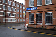 Full English breakfast now being served at the Star Coffee shop in Digbeth in Birmingham city centre, which is virtually deserted under Coronavirus lockdown on a wet rainy afternoon on 28th April 2020 in Birmingham, England, United Kingdom. Britains second city has been in a state of redevelopment for some years now, but with many outdated architectural remnants still remaining, on a grey day, the urban landscape appears as if frozen in time. Coronavirus or Covid-19 is a new respiratory illness that has not previously been seen in humans. While much or Europe has been placed into lockdown, the UK government has put in place more stringent rules as part of their long term strategy, and in particular social distancing.