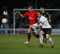 Photo: Mark Stephenson/Sportsbeat Images.<br /> Hereford United v Accrington Stanley. Coca Cola League 2. 24/11/2007.Hereford's Ben Smith passes the ball with Accrington's Billy Dennethy
