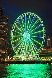 United States, Washington, Seattle, downtown skyline viewed from Elliott Bay at night
