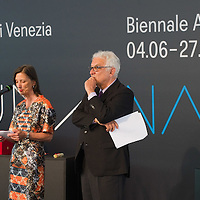 VENICE, ITALY - JUNE 04:  Bice Curiger Director of 54th Biennale Art 2011 (L) and Paolo Baratta President Biennale Venice (R) at the Official Awards  of the 54th International Art Exhibition on June 4, 2011 in Venice, Italy. This year's Biennale is the 54th edition and will run from June 4th until 27 November.