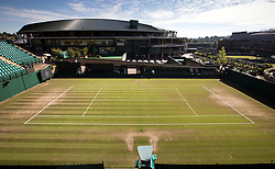 A general view of the baseline on court eighteen on day five of the Wimbledon Championships at The All England Lawn Tennis and Croquet Club, Wimbledon.