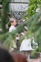 Pippa Middleton and husband James Matthews leave St Mary's Church after their wedding in Berkshire, England. Prince George, who was a page boy at his Aunt Pippa's wedding, appears upset as the wedding party depart the church.<br /> <br /> 21 May 2017.<br /> <br /> Please byline: Vantagenews.com
