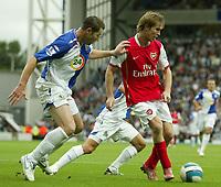 Photo: Aidan Ellis.<br /> Blackburn Rovers v Arsenal. The FA Barclays Premiership. 19/08/2007.<br /> Rovers Brett Emerton (L) and Arsenal's Alexander Hleb