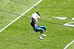 Philadelphia Eagles mascot swoop makes an entrance on a zip line before the NFL game between the New Orleans Saints and the Philadelphia Eagles on September 20th 2009. The Saints won 48-22 at Lincoln Financial Field in Philadelphia, Pennsylvania. (Photo By Brian Garfinkel)