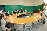 12 MAY 2003, BERLIN/GERMANY:<br /> Senator Enrique Jackson , President of the Senat of Mexico, and Jorge Eduardo Navarrete (both middel of left side of the desk), Ambassador of Mexico in Germany, during a meeting with Norbert Lammert (covered by other person), Vicepresident of the German Bundestag, Reichstagsgebaeude<br /> IMAGE: 20030512-03-009