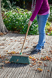 Sweeping fallen leaves off wooden decking with a brush in early autumn to prevent it getting slippy