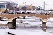 08 FEBRUARY 2021 - DES MOINES, IOWA: in downtown Des Moines. Central Iowa, including Des Moines, is enduring its coldest winter in 25 years. Daily high temperatures this week are not expected to go above 10F (-12C) and nightly lows are expected to be about -5F (-20C). In addition to the cold weather, this is the second snowiest winter in Des Moines history. So far this winter there has been more than 44 inches (111 centimeters) of snow. Des Moines normally gets about 35 inches (90 centimeters) of snow all winter.         PHOTO BY JACK KURTZ