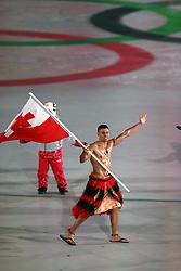 Tonga flag bearer Pita Taufatofua during the Opening Ceremony of the PyeongChang 2018 Winter Olympic Games at the PyeongChang Olympic Stadium in South Korea.