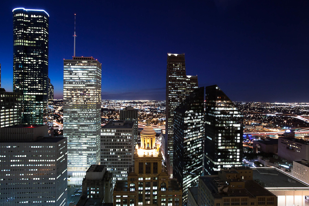 Night view of Houston, Texas skyline and city lights.