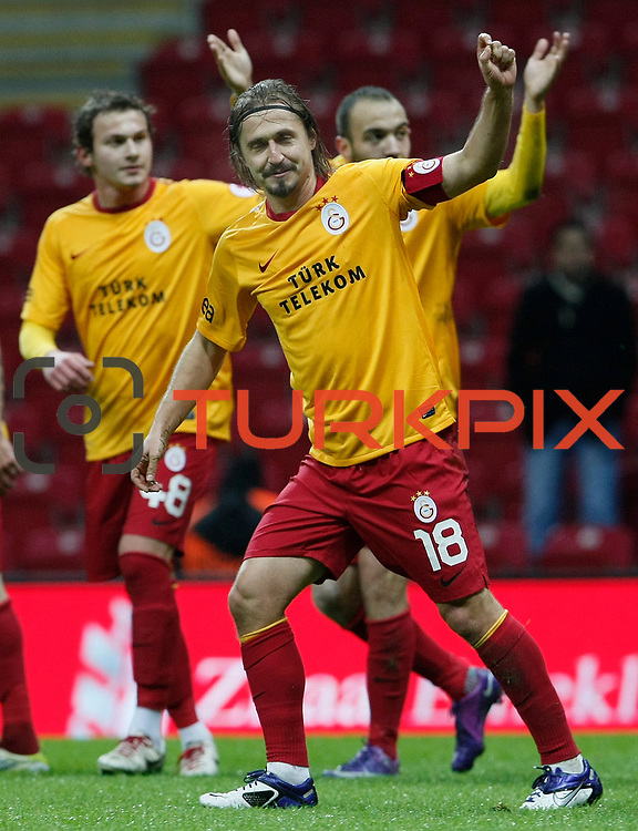 Galatasaray's Ayhan Akman (F) celebrate his goal during their Turkey Cup matchday 3 soccer match Galatasaray between AdanaDemirspor at the Turk Telekom Arena at Aslantepe in Istanbul Turkey on Tuesday 10 January 2012. Photo by TURKPIX