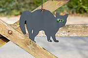 Black metal cat scarer with green glass eyes hanging from wooden gate, UK