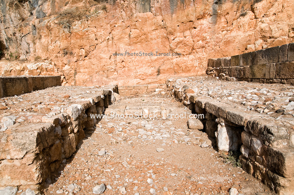 The Tomb Temple of the Sacred Goats, Caesarea Philippi, 220 CE. The bones of goats were buried in the rectangular niches seen here. Hermon Stream Nature reserve and Archaeological Park (Banias) Golan Heights Israel