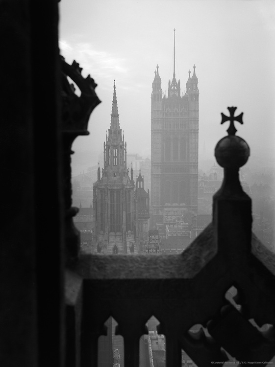 Houses of Parliament from Clock Tower of Big Ben, London, 1934