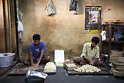 Men making sweets at Seal Sweets in Chandannagar, India