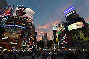 Shibuya crossing at dusk, Shibuya, Tokyo, Japan Friday June 17th 2016
