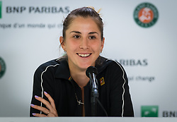 May 30, 2019 - Paris, FRANCE - Belinda Bencic of Switzerland talks to the media after winning her second-round match at the 2019 Roland Garros Grand Slam tennis tournament (Credit Image: © AFP7 via ZUMA Wire)
