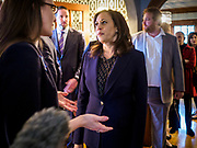11 APRIL 2019 - DES MOINES, IOWA:  US Senator KAMALA HARRIS, (D-CA) talks to a voter at a house party meet and greet for her presidential campaign in Des Moines.  Sen Harris is one of the leading candidates to be Democratic nominee for the US Presidency. Iowa traditionally hosts the the first election event of the presidential election cycle. The Iowa Caucuses will be on Feb. 3, 2020.     PHOTO BY JACK KURTZ