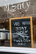 A notice regarding takeaway food is displayed outside a café on 3rd November 2020 in Windsor, United Kingdom. Struggling local businesses are preparing for England's second national lockdown to combat the spread of the coronavirus, which is set to begin on 5th November and to last four weeks.