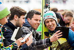 Noriaki Kasai (JPN) with fans after his 500th Competition in World Cup after the Ski Flying Hill Individual Competition at Day 1 of FIS Ski Jumping World Cup Final 2016, on March 17, 2016 in Planica, Slovenia. Photo by Vid Ponikvar / Sportida