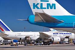 Air France and KLM passenger jets preparing to depart from Houston's Intercontinental Airport