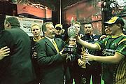 Ross Gregory, Australia Men's coach, with the Indoor Cricket World Cup trophy.<br /> 2002 Indoor Cricket World Cup, Wellington, New Zealand