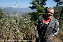 Kelly Modlin on a mountain stop to take in the view on day-1 of our Himalayan Heroes adventure riding from Kathmandu to Daman, Nepal. Tuesday, November 6, 2018. Photography ©2018 Michael Lichter.