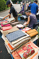 Second hand kimono obi on sale. Second hand kimonos are a popular item among foreign tourists and young Japanese.  Often, the obi or sashes are used for decorative purposes rather than for wearing.