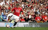 Fotball<br /> Old Trafford<br /> 02.08.08<br /> Manchester United - Espanyol<br /> Testimonial<br /> Ole Gunnar Solskjær s første touch på ballen<br /> Foto - Kasper Wikestad