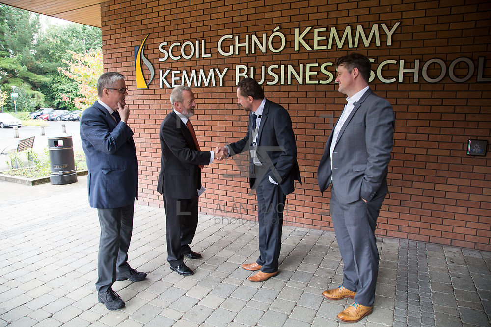 31.08. 2017.                                   <br /> Leaders in the pharmaceutical manufacturing sector in Ireland gathered at University of Limerick today for the third annual Pharmaceutical Manufacturing Technology Centre (PMTC) Knowledge Day.<br /> <br /> Prof Gavin Walker, Bernal Chair in Pharmaceutical Powder Engineering, UL welcomes Sean Kelly MEP to the Kemmy Business School for the PMTC Knowledge Day.<br /> <br /> The event provided a showcase for the cutting-edge research supported by the centre with key note addresses from industry thought leaders who shared their vision of the future for the pharmaceutical sector. Picture: Alan Place