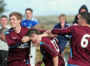 Conor Murray 13 is congradulated after scoring for  Galway against  Wicklow in Drom Galway in the youths Final . Phtoto:Andrew Downes