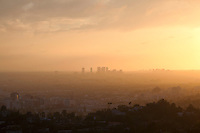 View of Hollywood Hills and West Los Angeles from Griffith Park at Sunset, Los Angeles, California