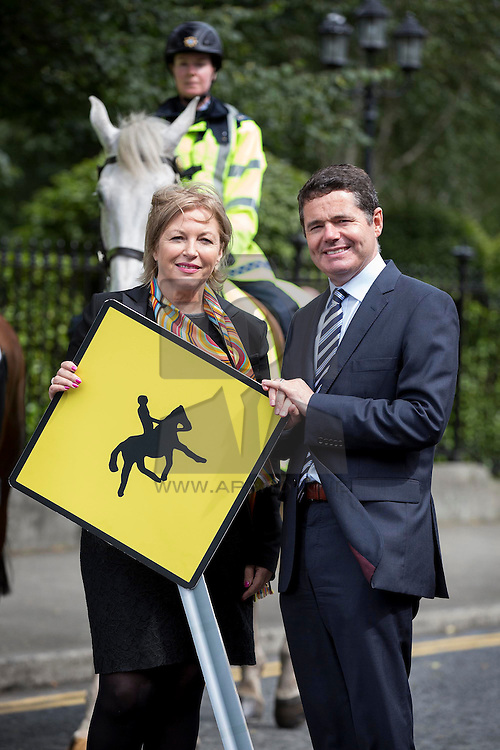 REPRO FREE: 05/08/2015 Liz O'Donnell, Chairperson, RSA is pictured with Minister for Transport, Tourism and Sport, Mr Paschal Donohoe TD at the launch of the a new booklet from the Road Safety Authority in association with Horse Sport Ireland, 'Horse Road Safety on Public Roads', advising road-users and riders on sharing the road safely. Picture Andres Poveda