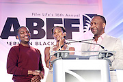Miami Beach, Florida, NY-June 23: (L-R) Actor Mekhi Phifer, Nicole Friday and Jeff Friday, Founder, The American Black Film Festival attends the 2012 American Black Film Festival Winners Circle Awards Presentation held at the Ritz Carlton Hotel on June 23, 2012 in Miami Beach, Florida. (Photo by Terrence Jennings)