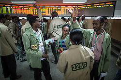 Traders bid on coffee in the Ethiopia Commodity Exchange (ECX) December 14, 2012. The ECX is a commodities exchange established to develop an efficient modern trading system that would protect the rights  of sellers, buyers, intermediaries, and the general public. Farmer Cooperatives represented 2.4 millions smallholder farmers, which make up 12 percent of the membership. Ethiopia is the world's seventh largest producer of coffee, and Africa's top producer.  Half of the coffee is consumed by Ethiopians, and the country leads the continent in domestic consumption. The way of production has not changed much since the 10th century, with nearly all work, cultivating and drying, still done by hand.