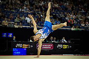 Max Whitlock of Great Britain (GBR) performs on the Floor during the iPro Sport World Cup of Gymnastics 2017 at the O2 Arena, London, United Kingdom on 8 April 2017. Photo by Martin Cole.