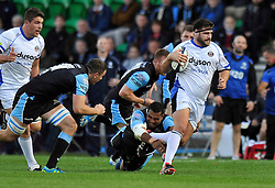 Rob Webber of Bath Rugby goes on the attack - Photo mandatory by-line: Patrick Khachfe/JMP - Mobile: 07966 386802 18/10/2014 - SPORT - RUGBY UNION - Glasgow - Scotstoun Stadium - Glasgow Warriors v Bath Rugby - European Rugby Champions Cup