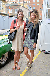 Left to right, sisters ALICIA HARROP and EDDIE HARROP at the launch of Dundas London held at Fiskins Classic Car Showroom, 14 Queens Gate Place Mews, London on 25th June 2014.