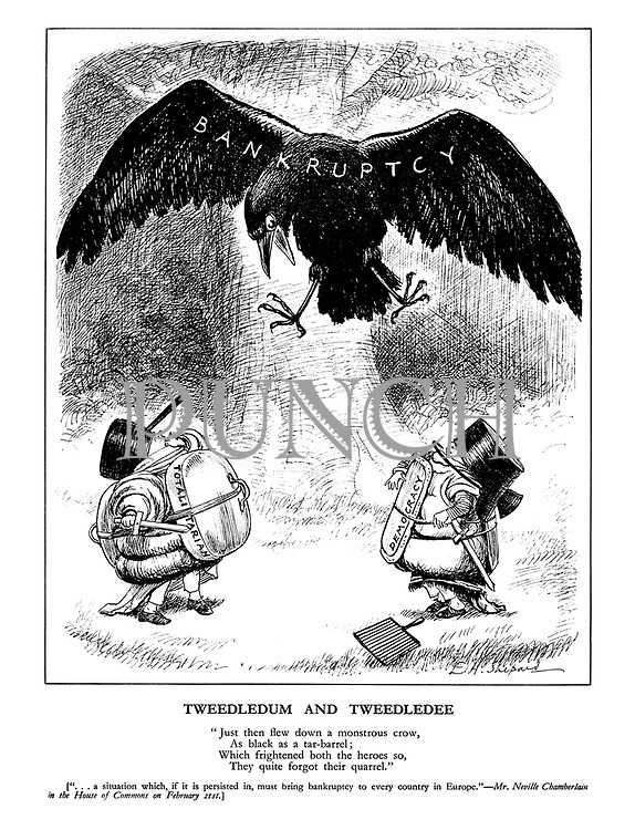 """Tweedledum and Tweedledee. """"Just then flew down a monstrous crow, as black as a tar-barrel; which firghtened bothe the heroes so, they quite forgot their quarrel."""""""