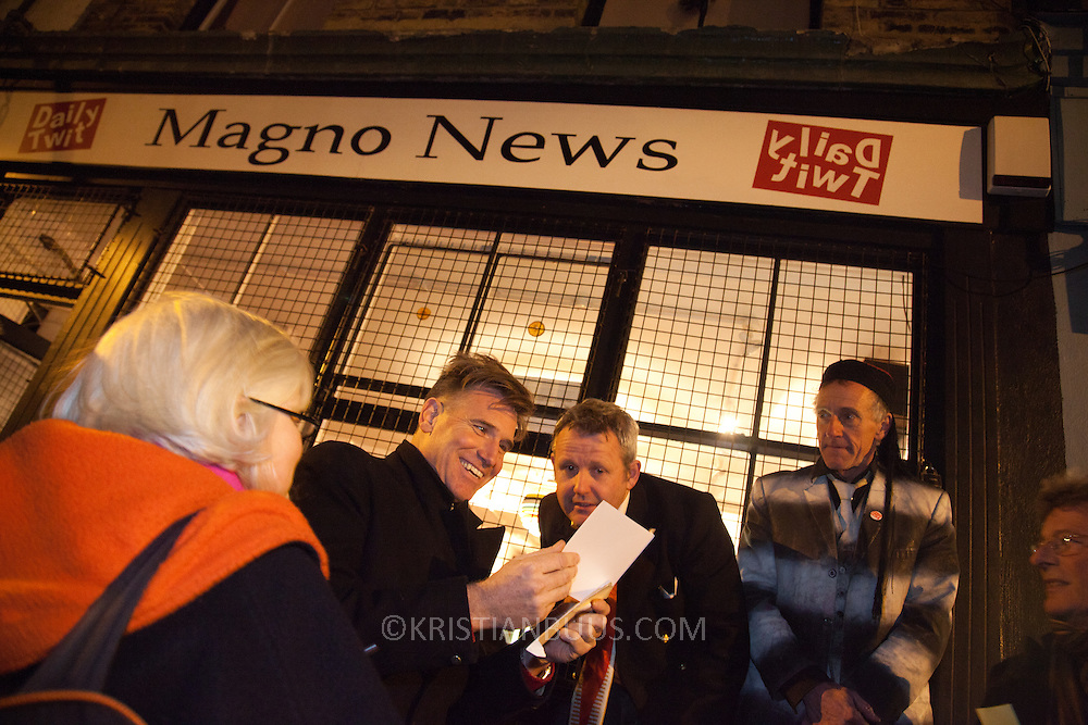 The launch party of the Daily Twit by Magnus Irvin held at the coffee shop in Wilton Way, Hackney.