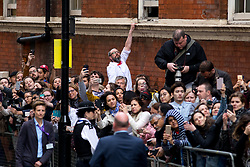 © Licensed to London News Pictures. 23/04/2018. London, UK. Royal fans await The Duke and Duchess of Cambridge leaving the Lindo Wing of St Mary's Hospital in west London with their new born baby son, the Prince of Cambridge. Their third son was safely delivered at 11:01 AM today, and weighed 8lbs 7oz. He is fifth in line to the throne. Photo credit : Tom Nicholson/LNP