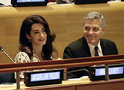 George Clooney und Ehefrau Amal beim Fl¸chtlingsgipfel am Rande der UN Vollversammlung in New York<br /> <br /> / 200916<br /> <br /> *** Lebanese-British lawyer, Amal Clooney and her husband United States actor George Clooney attend a Leaders Summit for Refugees during the United Nations 71st session of the General Debate at the United Nations General Assembly at United Nations headquarters in New York, New York; September 20th, 2016 ***