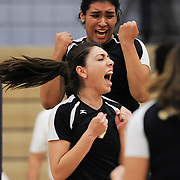 Golden West College #9 Samantha Ureno celebrates after a blocck against Irvine Valley College.  Golden West won 3-0 ( 27-25, 26-24, 25-19) 11/4/16