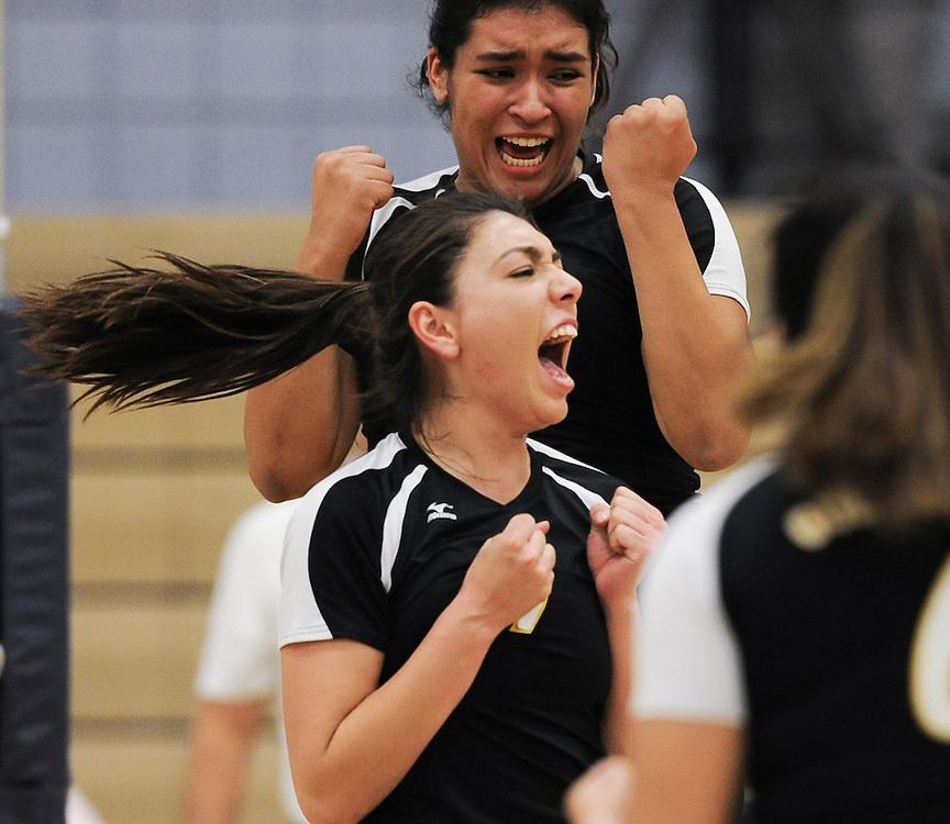 Golden West College #9 Samantha Ureno celebrates after a blocck against Irvine Valley College.  Golden West won 3-0 ( 27-25, 26-24, 25-19) 11/4/16