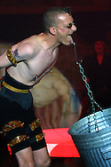 Preview photographs of the Circus of Horrors which opens on the Edinburgh Festival Fringe tonight and runs until 27th August at Leith Links. Picture shows performer Wasp boy carrying a bin suspended from his tongue..........