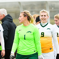 4th year goalkeeper Ashton Lowry (1) of the Regina Cougars during the Women's Soccer home game on October 21 at U of R Field. Credit: Arthur Ward/Arthur Images